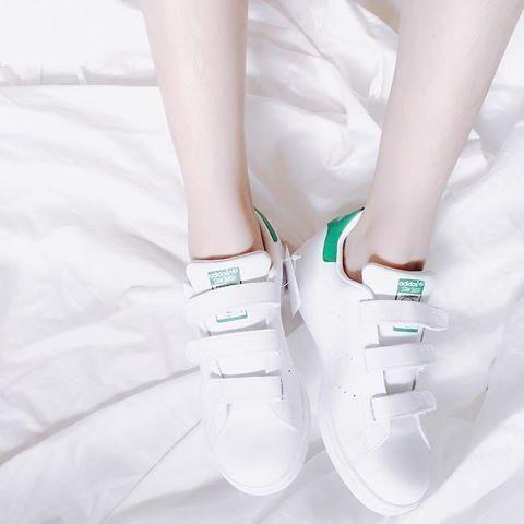 [速必達] adidas originals Stan Smith CF J 白綠 史密斯 百搭款 魔鬼氈 復古慢跑鞋