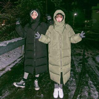 限時特價❤寶貝日韓❤韓國製 CHUU 冬季必備鋪棉長版外套 超長版 羽絨外套 連帽 可拆 羽絨大衣 超保暖外套 軍綠/黑