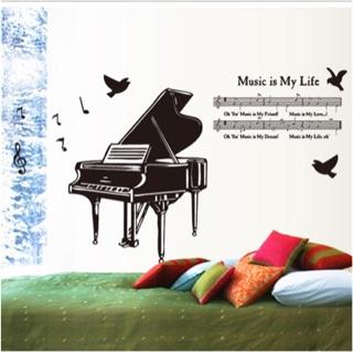 歐風鋼琴壁貼浪漫音符黑白系列裝置藝術室內佈置 壁貼 壁貼牆貼房間客廳佈置重複撕