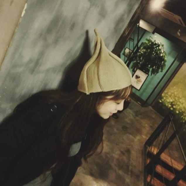 [Dorara]韓國可愛扭扭帽尖頂針織毛線帽成人款尖尖帽親子風車帽花朵精靈帽