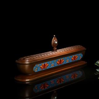 金剛黑獅王香品本源鋪  手工掐絲琺瑯彩臥香爐-藍色