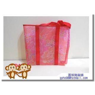 【蓋猴雜貨鋪O0083】可愛花樣半透明防水提帶/側肩背/購物袋(紅色)