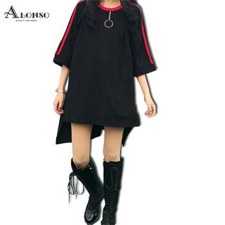 韓系上衣寬鬆短袖大碼不規則條紋 T 恤