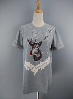 【A1570604】淺灰色麋鹿不迷路串珠編織花邊亮片貼片折袖圓領短T*Eriza Hawk