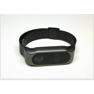 C-【C002金屬黑小米手環】小米手環2代光感版手環錶殼錶帶卡扣固定免螺絲不銹鋼小米手環2代金屬腕帶光感版手環錶殼錶