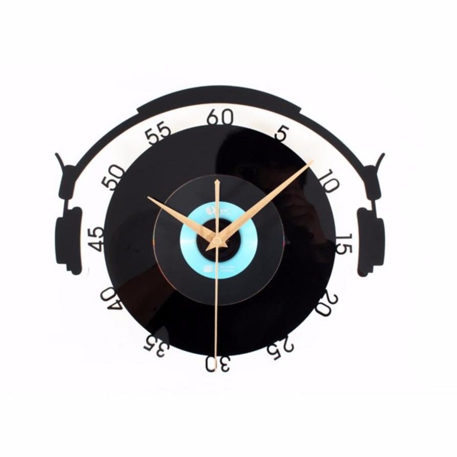 創意時鐘 黑膠唱片系列立體靜音掛鐘(炫彩音樂款)高級多層鏡面壓克力材質 特色個性裝飾浪漫時鐘-米鹿家居