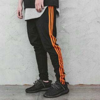 三條線 運動褲 直筒橘色長褲XL