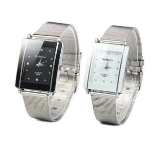 水晶手錶女性不銹鋼長方形錶盤石英手錶