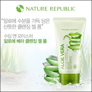 클렌징 Nature Republic Soothing & Moisture Aloe Vera Foam Cleanser 自然樂園  潤滑保濕蘆薈洗面乳 150ml