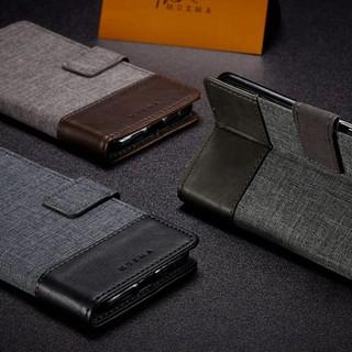 SAMSUNG 三星A3 A5 A7 2017 簡約 雙色牛仔紋手機殼可插卡可站立支架兩折磁鐵吸附皮套帆布全包