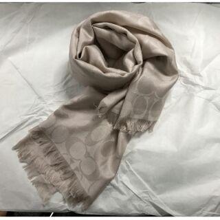 【COACH】經典C LOGO 短流蘇方巾絲巾披巾(象牙色)