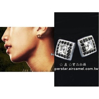 B724【方形黑鑽銀邊耳環】2PM 朴宰范 澤演 俊昊 峻秀 佑榮 燦成 耳針 (薩摩亞)
