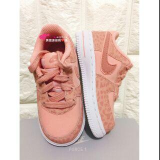 L 美國連線嗨心購。官方正貨。Nike air force 粉色 豹紋 小童 運動鞋 休閒鞋