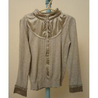 蝴蝶結綁帶 緞面 針織 長袖 上衣
