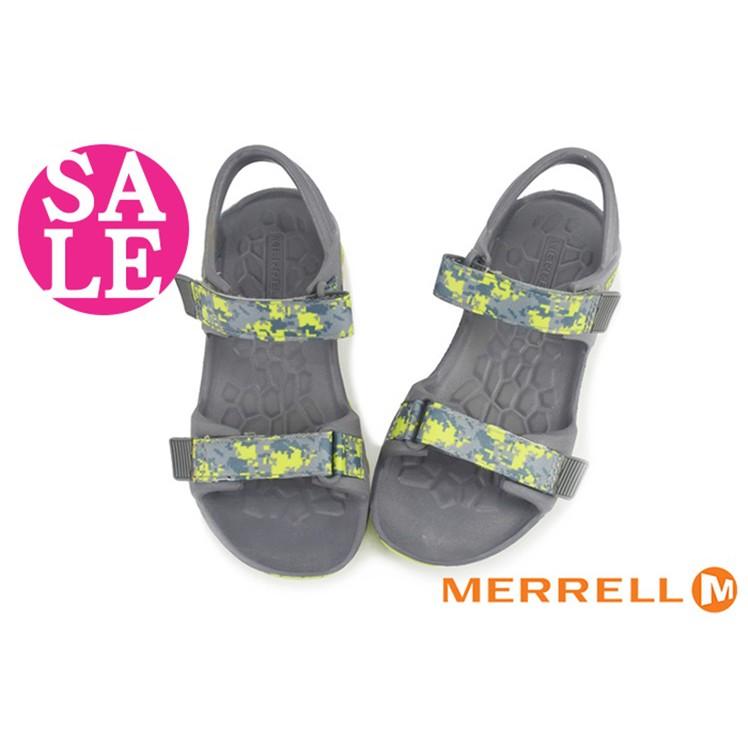 MERRELL男童織帶涼鞋 中童  輕量環保運動涼鞋 零碼出清 I6490#灰綠◆OSOME奧森鞋業
