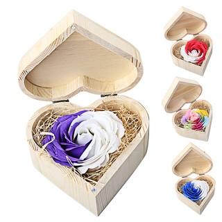 植物香氣身體沐浴花玫瑰花瓣與木心形狀盒情人節週年 生
