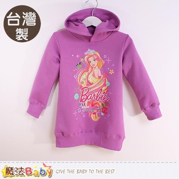 專櫃款女童帽T 台灣製芭比正版厚磅連帽長袖T恤 魔法Baby~k60303