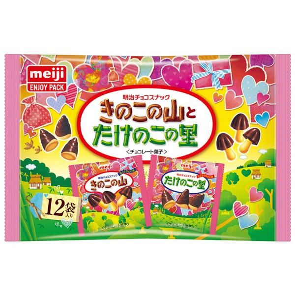 Meiji 明治 香菇竹筍造型餅乾-巧克力口味袋裝-愛心版(12包入)【小三美日】團購/零食 D026404