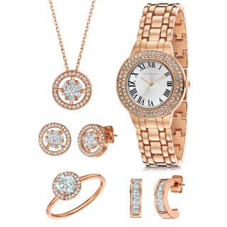 【代購】FERVOR玫瑰金女士腕錶珠寶套組
