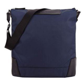 全新未使用 日本 帶回 agnes b 皮革壓紋logo尼龍 斜背包 海軍藍 (非 porter, tumi, LV )