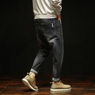 春裝新款青年日式寬松小腳男士牛仔褲男裝哈倫褲潮長褲子XB1705