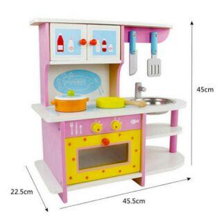 木製仿真廚房套裝 粉色 煤氣灶台玩具 扮家家酒廚房組