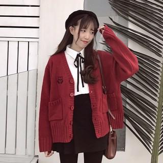 20024 學院風可愛日系刺繡V 領寬鬆針織開