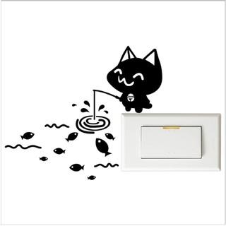 【開關小壁貼】貓釣魚 %23 壁貼 防水貼紙 汽機車貼紙 9.9cm x 9.9cm
