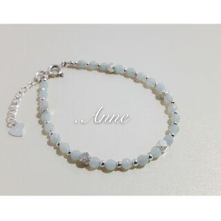 Anne925純銀蠶絲蠟線/天鵝石
