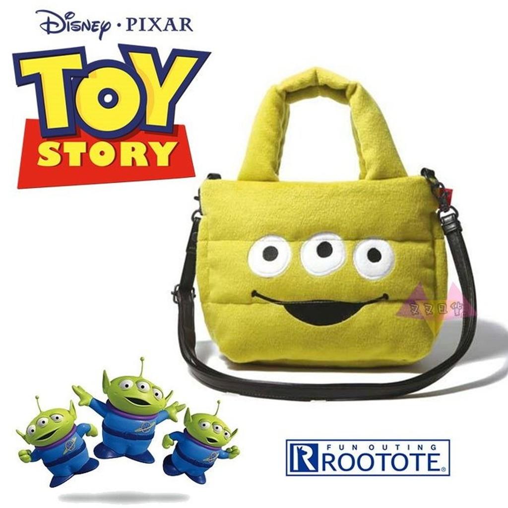 叉叉日貨 迪士尼玩具總動員三眼怪大臉Rootote太空包絨毛手提包肩背包斜背包~皮質背帶【Di38134】到貨