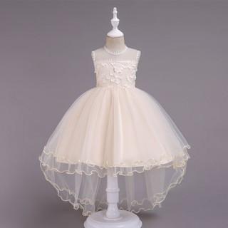 ✨萌寶 館✨簡約大氣兒童禮服公主裙拖尾中大女童蕾絲花童表演