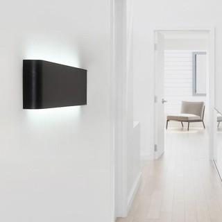 壁燈床頭客廳過道樓梯燈簡約 牆壁長形北歐LED 床頭燈臥室壁燈(超薄款)~黑殼7W 暖