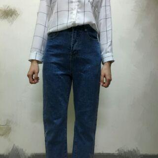 高腰古著抽鬚牛仔寬褲
