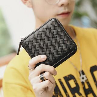 手工编织钱包 时尚潮流方形钱包 短款钱夹口袋钱包零钱包多卡位包