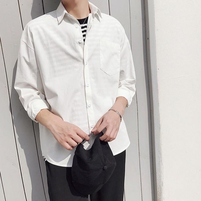 109素麵簡約白色長袖襯衫 韓版帥氣港風 襯衫長袖時尚潮流 青年復古工裝薄款襯衣潮