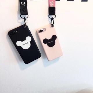 附掛繩iphone7 7plus 米奇標誌吊飾手機殼軟殼全包邊iphone7 情侶掛環ip