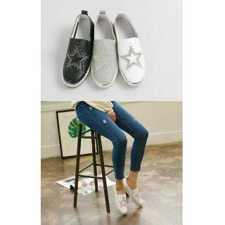 現貨/預購❤真皮排鑽+星星鉚釘懶人鞋
