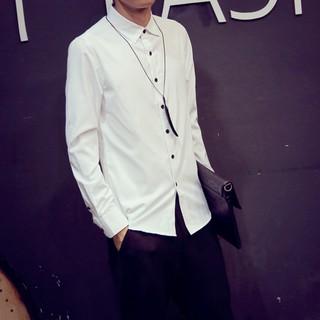 V1 旗艦店 修身純色男生白襯衫日系紳士襯衫學生畢業襯衫面試襯衫黑色襯衫結婚伴郎襯衫職業襯