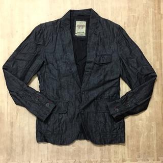 二手  ESPRIT 男 仿舊 棉質 休閒 西裝 外套(黑)