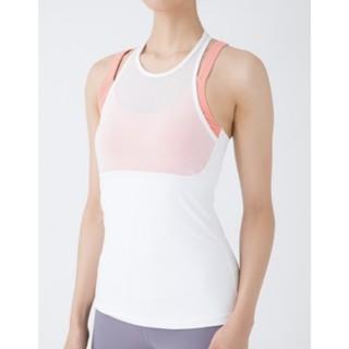 (二手)專業瑜伽服品牌 easyoga 透視疊色背心 罩杯上衣 瑜珈背心 白色8號 假兩件
