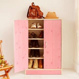 北歐木紋鄉村風雙門鞋櫃