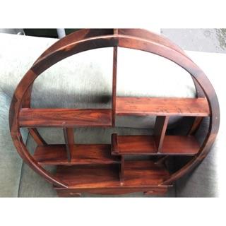 天然 - 雞翅木 / 圓形 藝品櫃 茶壺架 * / 藝品擺件架