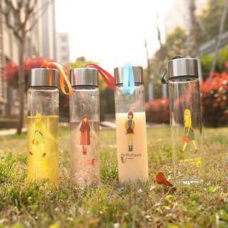 免運 訂單滿499免運啦創意女孩玻璃杯 學生圓形喝 瓶子 帶蓋帶提繩透明 杯 耐熱杯子訂單滿350發貨哦