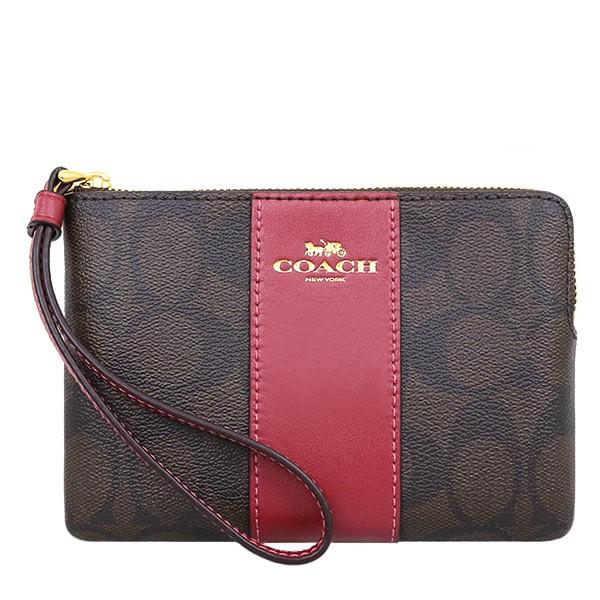 【美麗小舖】全新真品 COACH 58035 巧克力紅色 防刮PVC皮革 L型拉鍊 零錢包 手機包 手拿包-現貨在台