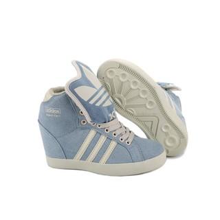 adidas basket profi up 夜光三葉草大鞋舌高筒增高鞋 淺藍白 女鞋