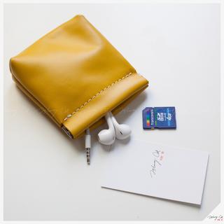 (10x12cm)PU榔皮染色革收納/零錢包-芥末黃色【L1108D】約翰貓 錢包 傳輸線 記憶卡 耳機 收納包