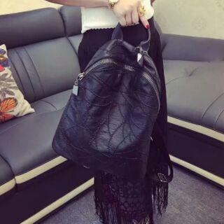韓國時尚双肩真皮後背包包防潑水包