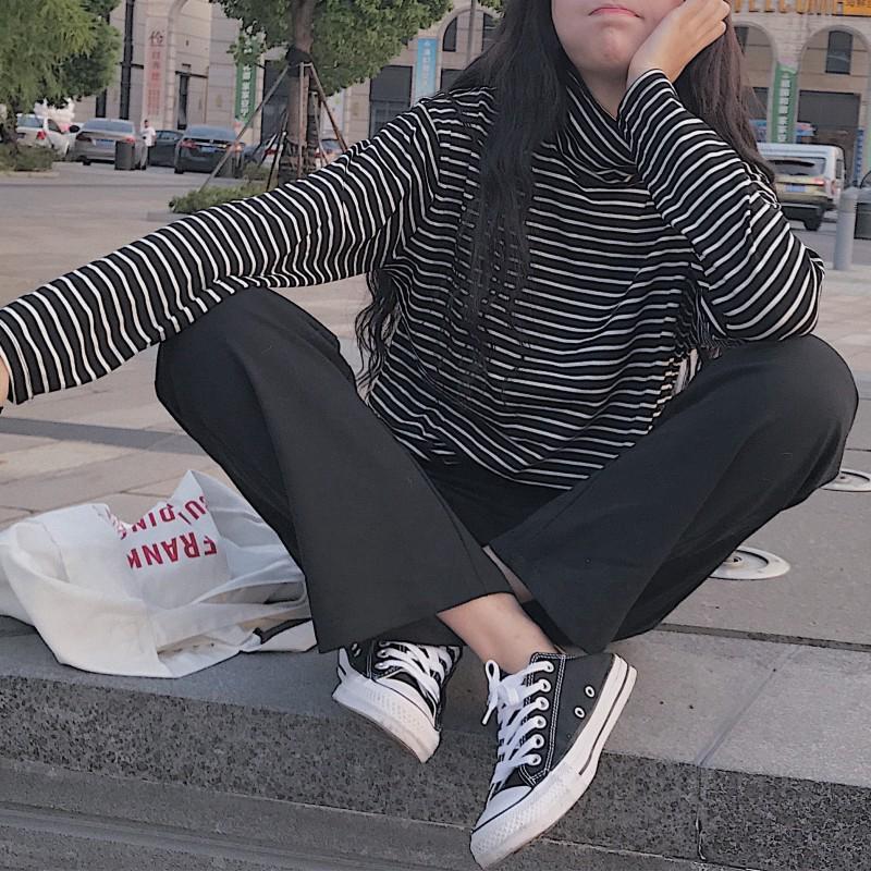 2019 短袖女 條紋撞色寬鬆學生T 恤女修身針織顯瘦洋氣少女上衣T 恤內搭衣學生上衣女t