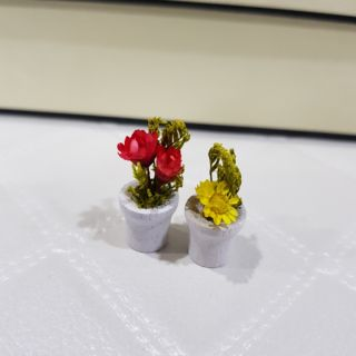 袖珍 迷你乾燥花盆組 紅黃花一組