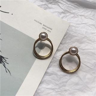 [ FUORA ] 珍珠鏤空環狀耳環